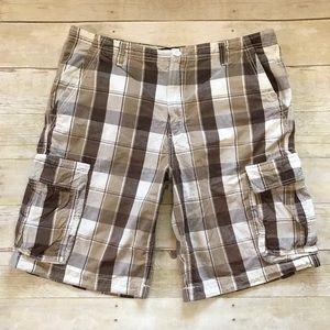 OP Brown/Tan/White Plaid Print Cargo Shorts - 36
